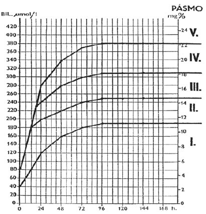 Indikační graf pro léčbu hyperbilirubinémie (podle Hodra)