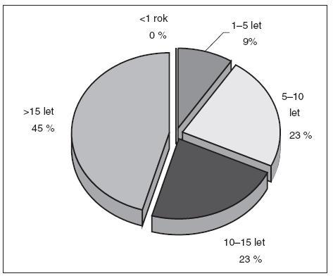 Délka praxe – lékaři (22 respondentů)