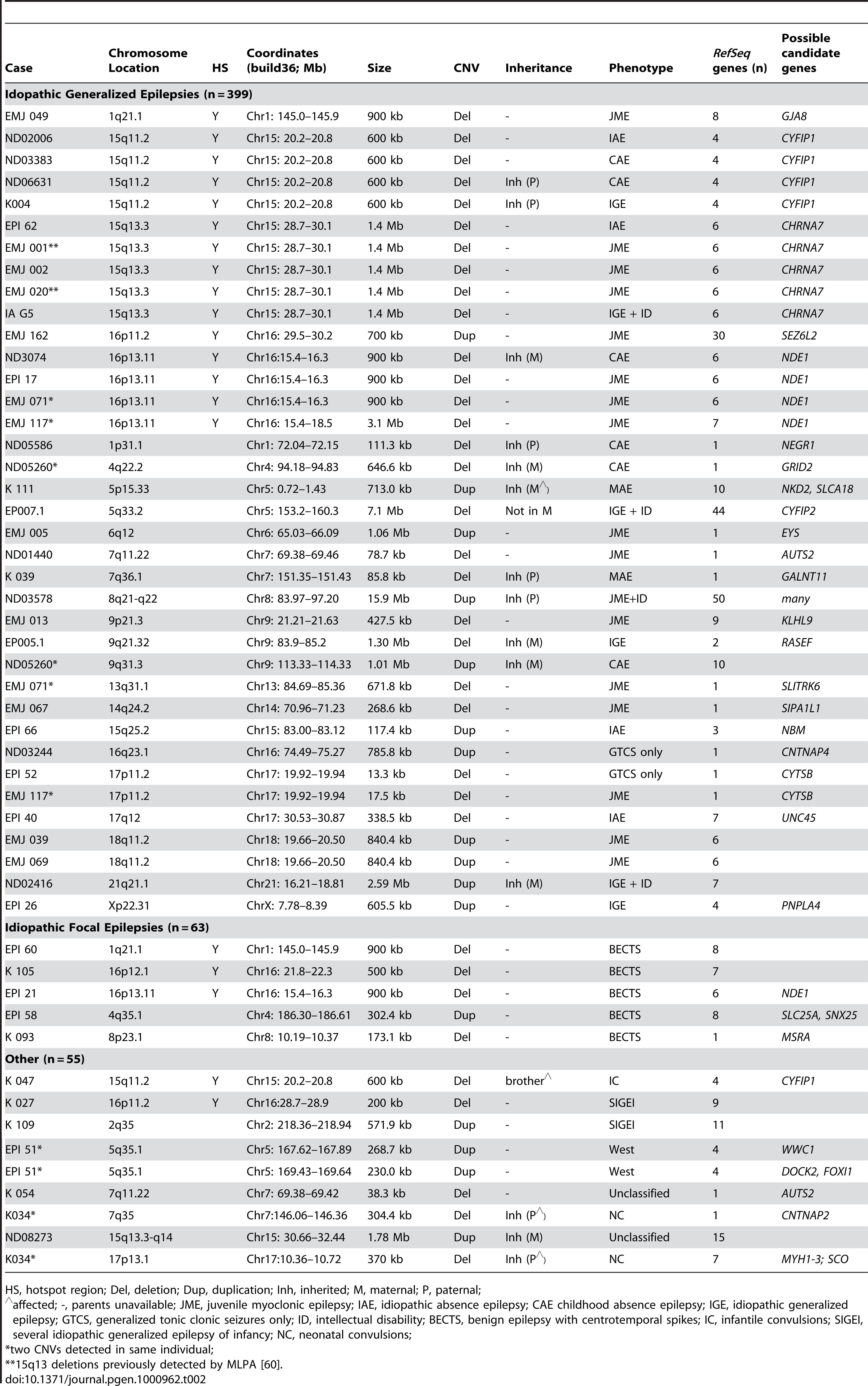Rare copy number variants in 517 patients with epilepsy.