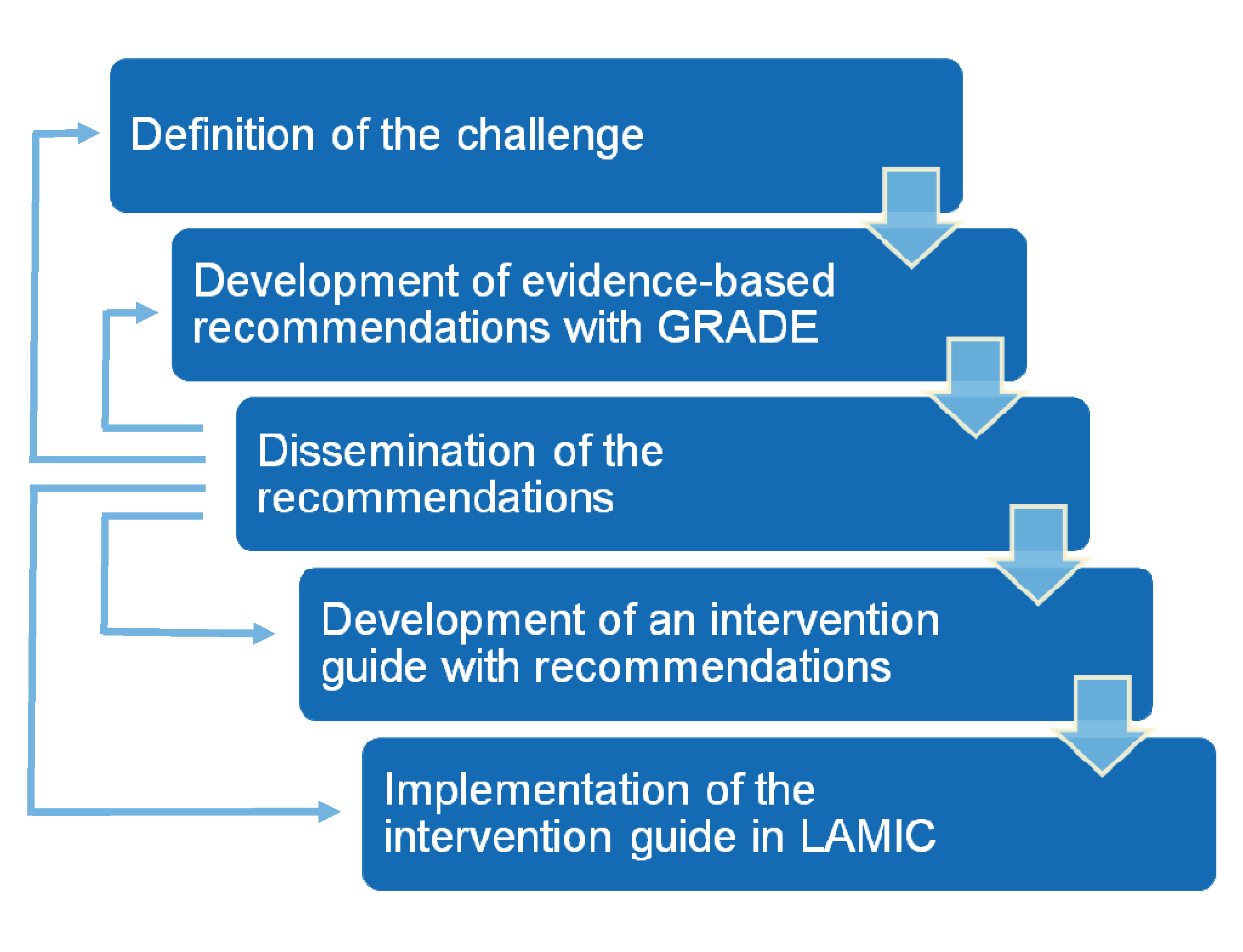 Steps in the formulation and implementation of the <i>mhGAP Intervention Guide</i>.