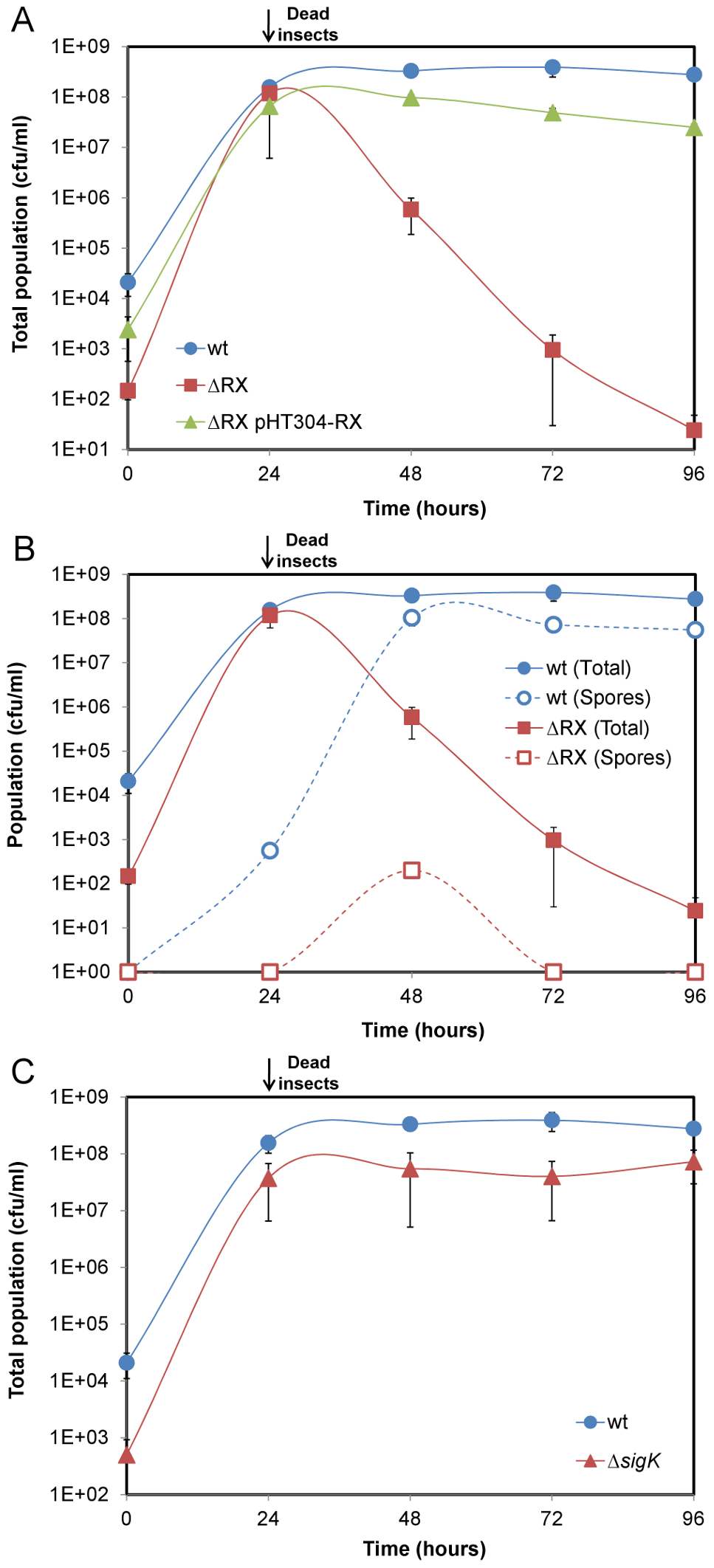 NprR allows <i>Bt</i> to survive in insect cadavers by a process independent of sporulation.