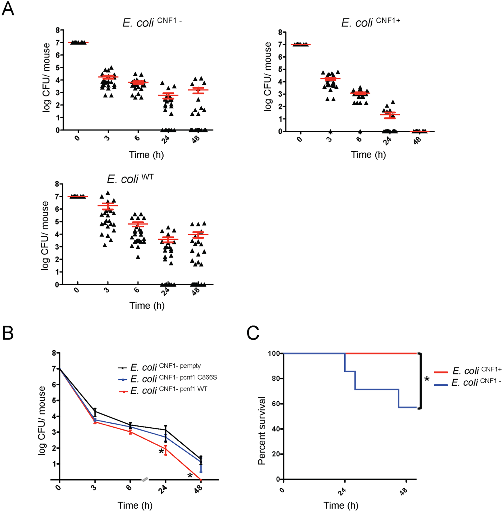 Infection with <i>E</i>. <i>coli</i> encoding CNF1 triggers clearance of bacteria from blood and mouse survival.