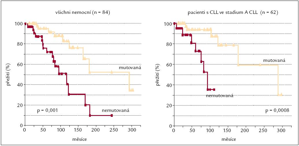 Délka přežití v závislosti na mutované či nemutované genetické informaci pro těžký řetězec imunoglobuloinu (IgV<sub>H</sub> genu) [37].