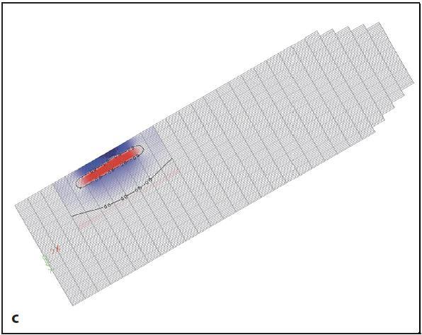 a – výpočtová predikce deformovaného tvaru objektu; b – oblast poruchy s vykreslením podélného napětí vznikajícího v prvcích při dysfunkci tělísek  (poloha poruchy x = 10 mm, y = -7 mm; c – oblast poruchy s vykreslením příčného napětí vznikajícího v prvcích při dysfunkci tělísek (poloha poruchy x = 10 mm, y = -7 mm) Fig. 2. a – the computational prediction of the deformed shape of the object; b – distribution of longitudinal stresses generated in the elements at dysfunction glands (fault location x = 1 0mm, y = -7 mm); c – distribution of tensile stresses  generated in the elements at dysfunction glands (fault location x =10 mm, y = -7 mm)