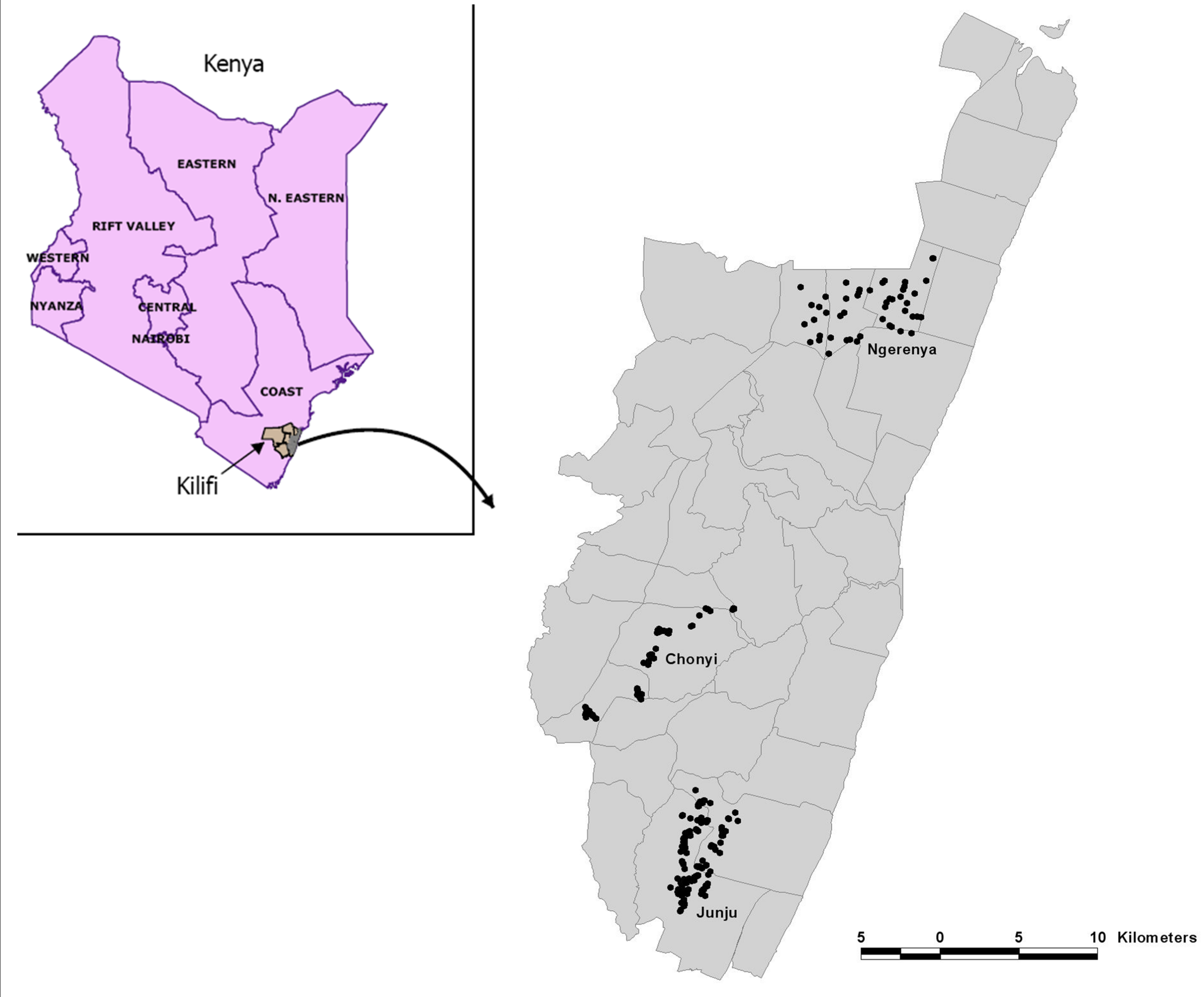 The distribution of homesteads monitored in the three cohorts is shown within Kilifi District.