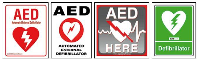 Obr. 1–4. Výběr dříve používaných piktogramů k označení AED.