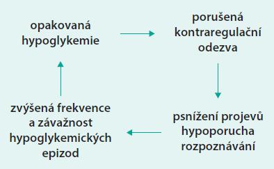 Schéma 1. Uzavřený okruh opakovaných hypoglykemií. Upraveno podle [9].