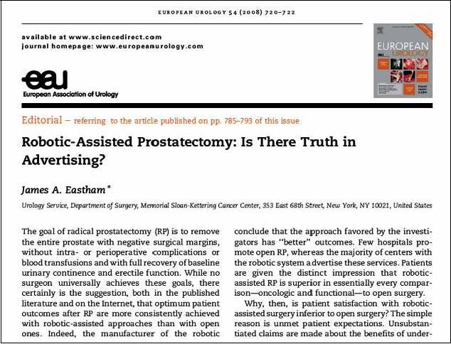 Citace publikace analyzující pravdu o srovnání otevřené a roboticky asistované radikální prostatektomie.
