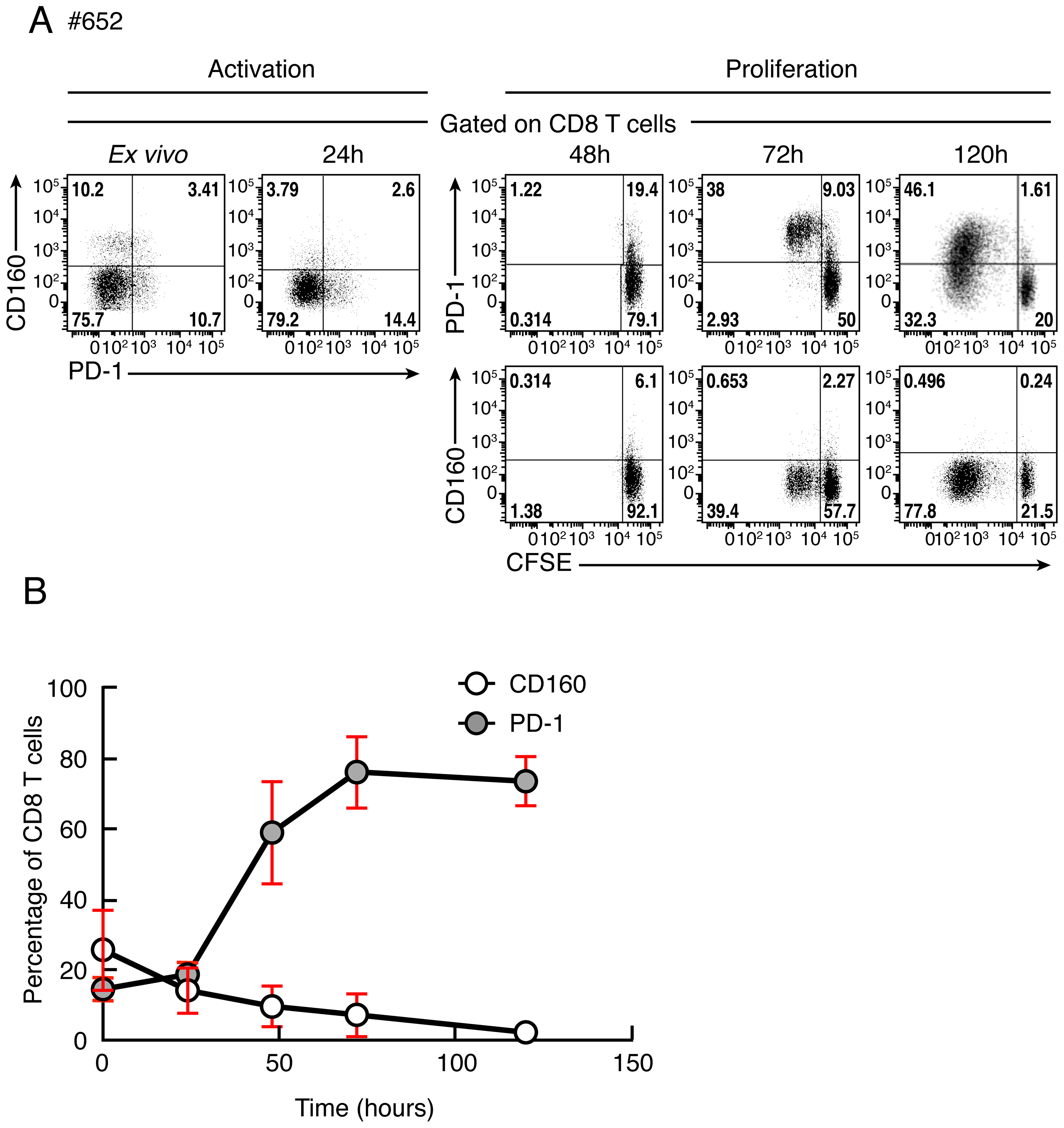 Kinetic of CD160 or PD-1 expression on CD8 T cells stimulated upon T-cell stimulation.