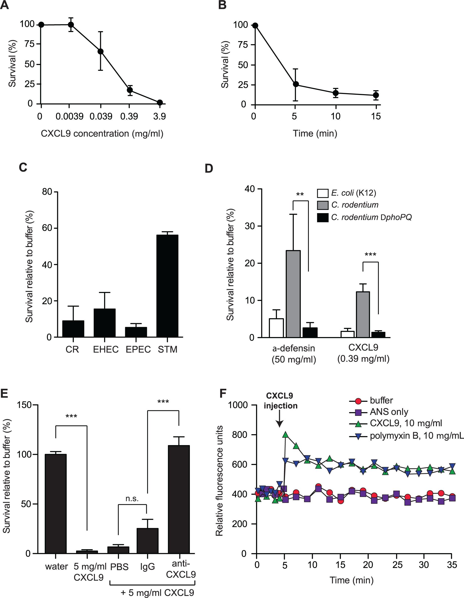 <i>Citrobacter rodentium</i> is sensitive to CXCL9-directed bacterial killing.