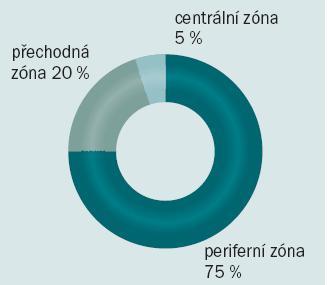 Výskyt karcinomu prostaty v jednotlivých zónách.