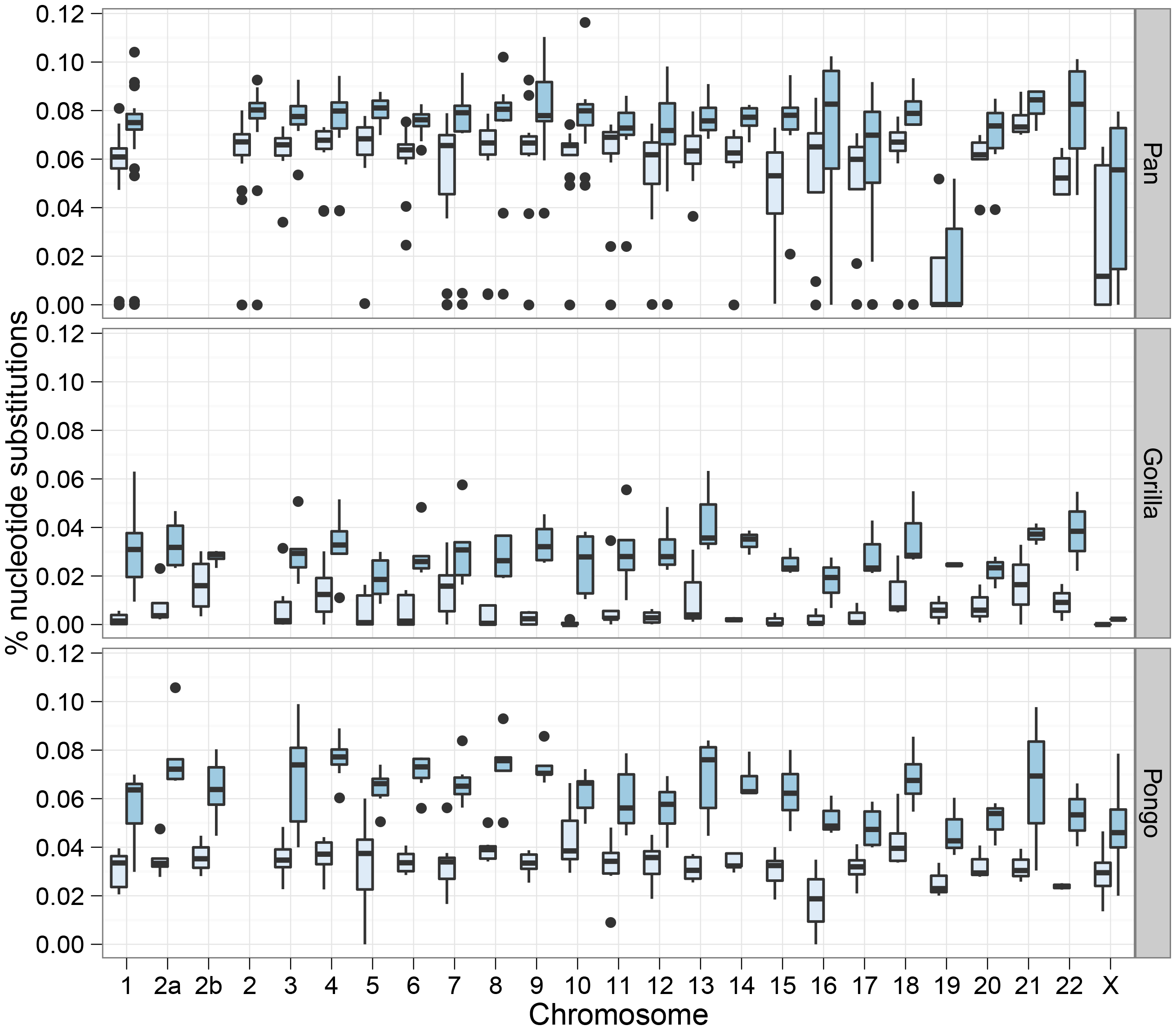 Chromosome wise split time estimates.