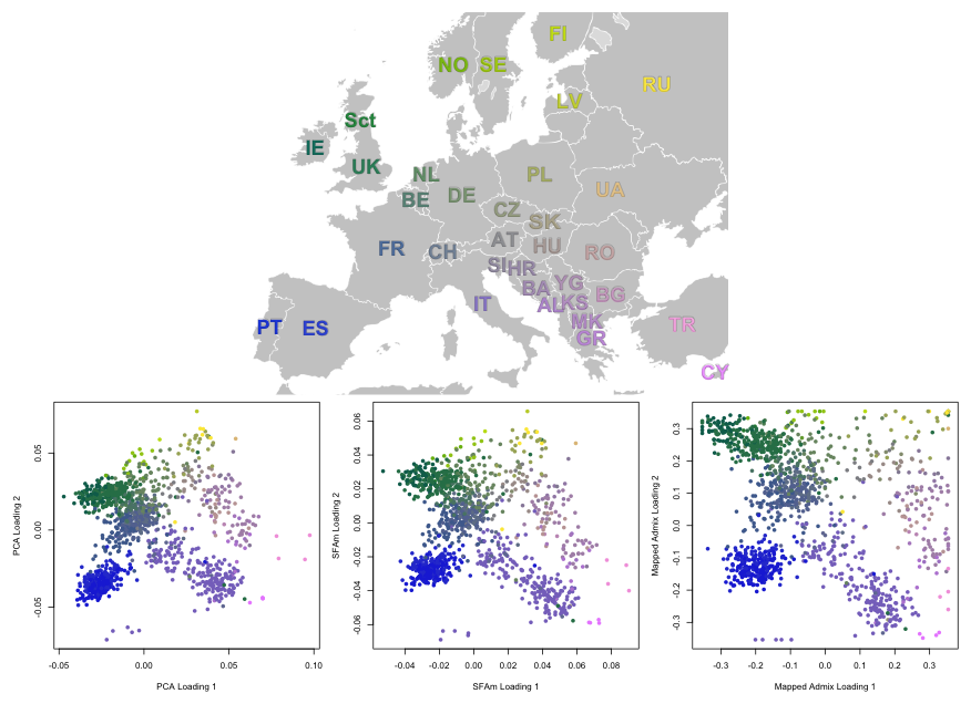 Results from PCA, SFAm, and admixture for the POPRES European data.