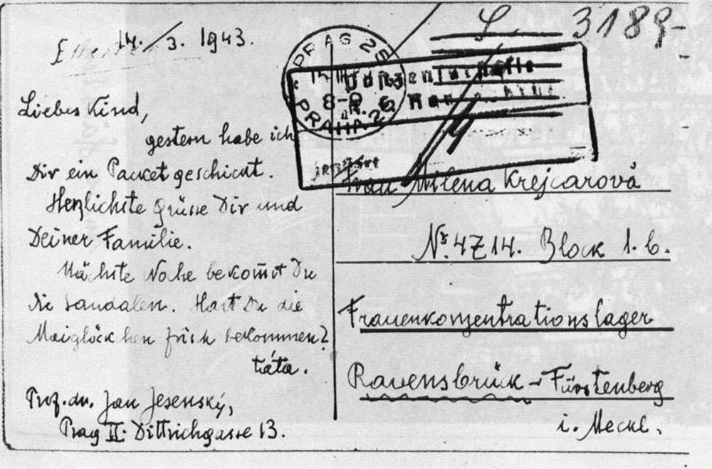 Vrácená pohlednice, kterou zaslal Jan Jesenský dceři Mileně, provdané Krejcarové, do koncentračního tábora. Text na pohlednici je psaný německy dle příkazu cenzury.