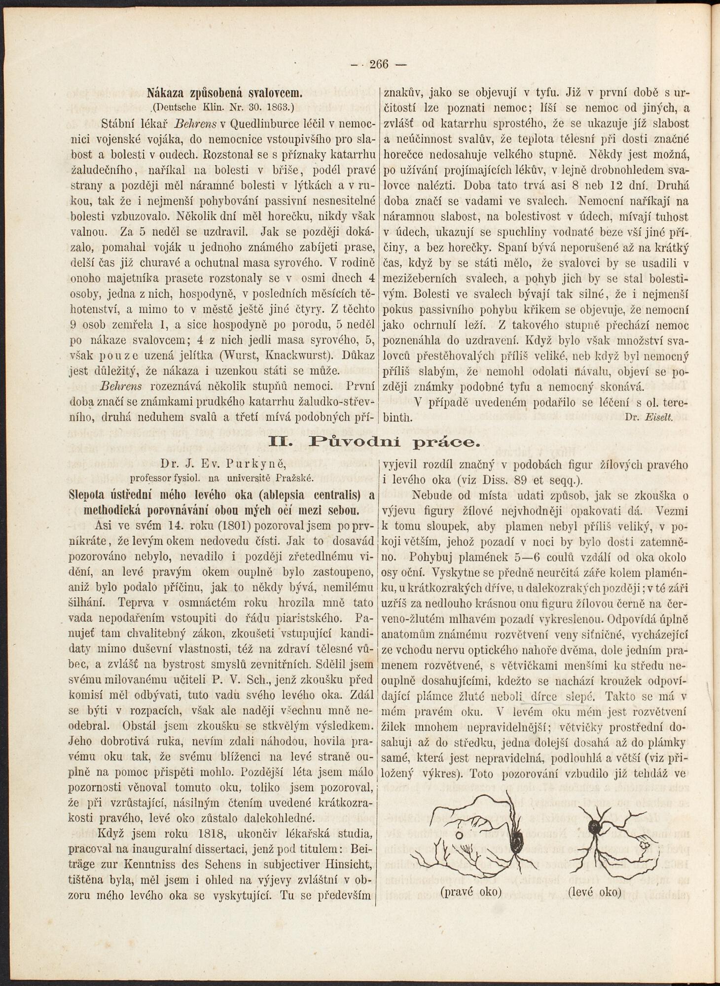 Purkyňova kazuistika v ČLČ z roku 1863 – autorem a pacientem v jedné osobě