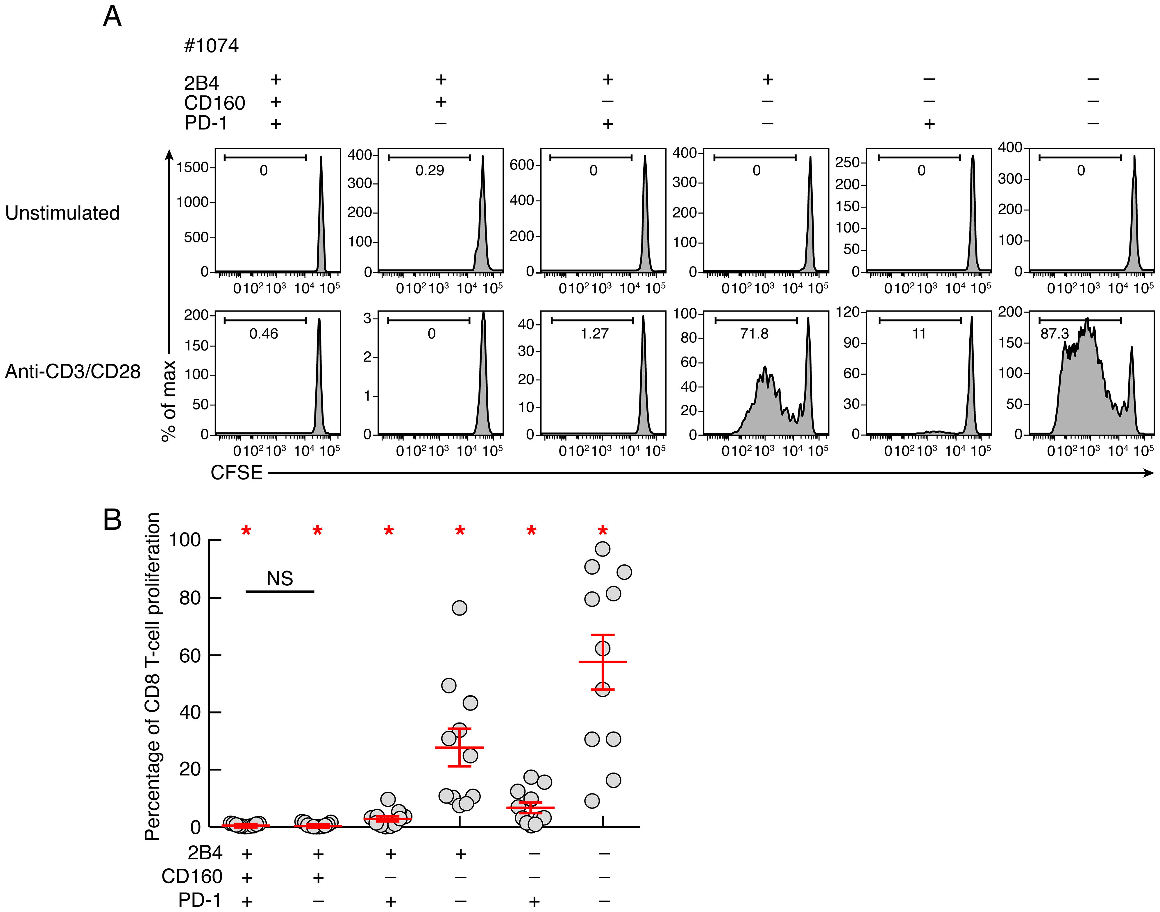 Intrinsic proliferation capacity of sorted CD8 T-cell populations expressing the different combinations of 2B4, CD160 and PD-1.