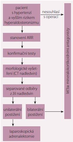 Zjednodušený algoritmus vyšetření při podezření na primární hyperaldosteronizmus. Upraveno podle [8]. ARR – plazmatická reninová aktivita; CT – počítačová tomografie; MR antagonisté – antagonisté mineralokortikoidních receptorů