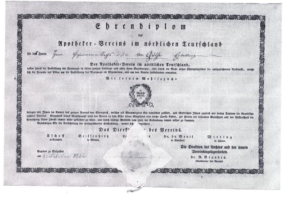Diplom čestného členství Severoněmeckého lékárnického spolku pro Johanna Wolfganga von Goethe z roku 1822