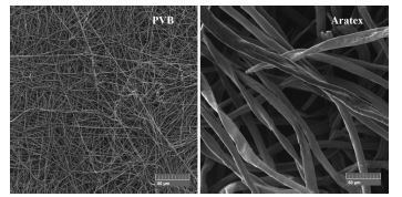 SEM images comparison of Aratex and PVB scent carrier morphology with the same magnification.