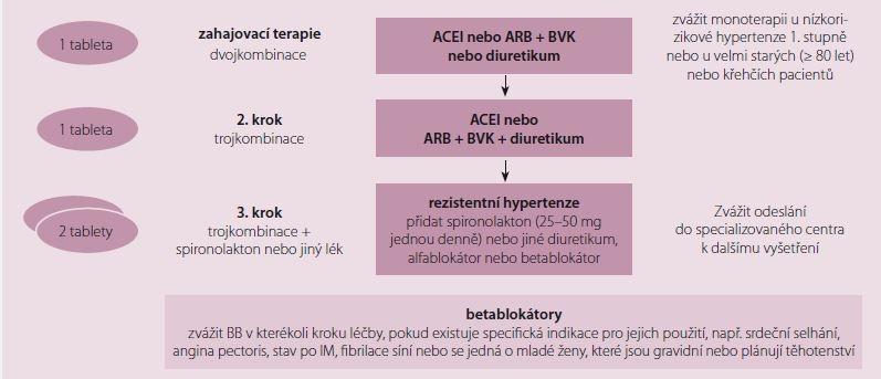 Schéma 1. Základní strategie farmakoterapie při nekomplikované hypertenzi. Upraveno dle prezentace prof. Narkiewicze z ESC 2018.
