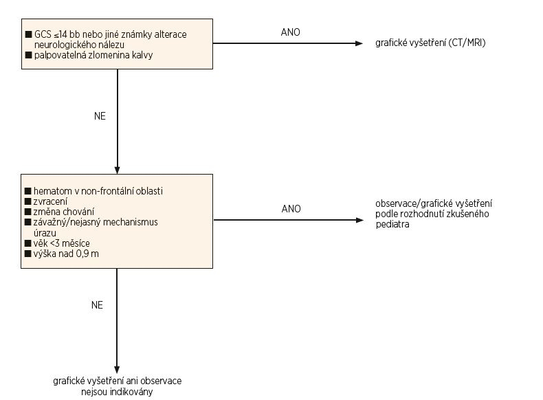 Schéma 1. Navrhované schéma postupu péče o pacienty s tupým poraněním lbi.