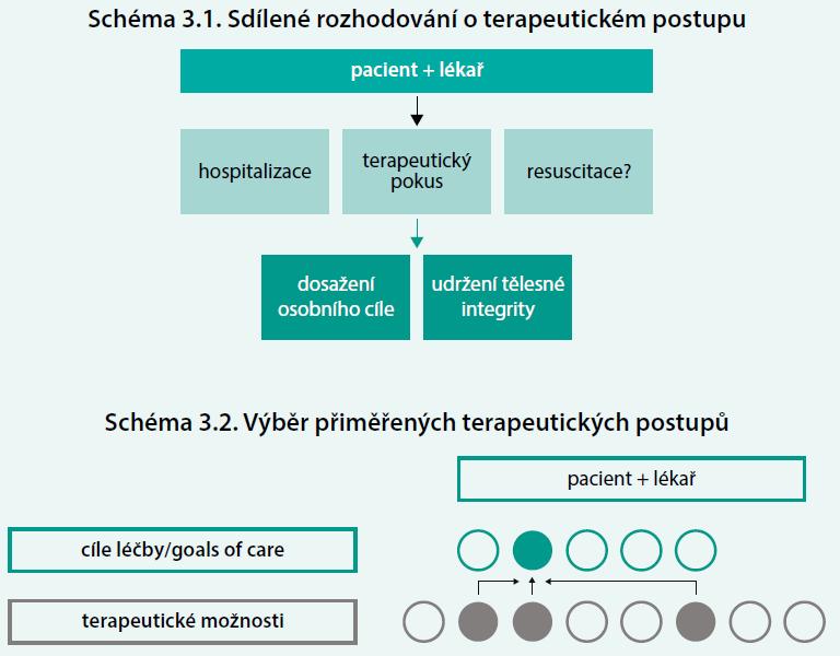 Schéma 3. Sdílené rozhodování o terapeutickém postupu (schéma 3.1), a výběr přiměřených terapeutických postupů (schéma 3.2), který zohledňuje vůli pacienta