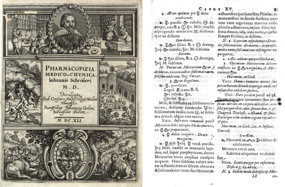 Titulní list Schröderovy Pharmacopoea medico-chimica z roku 1641 a strana 81 s návodem na přípravu draco mitigatus.