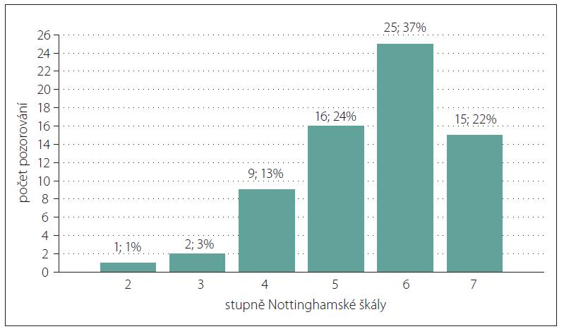 Sloupkový diagram absolutních a relativních četností stupňů Nottinghamské škály.<br> Fig. 3. Bar chart of absolute and relative frequency of degrees of Nottingham scale.