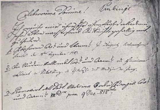 """Část dotazníku profesora Rottenbergera, kde na otázku """"Kdy a kde jste se narodil?"""" Purkyně uvedl """"18. prosince 1787 v Libochovicích, okres Litoměřice""""."""