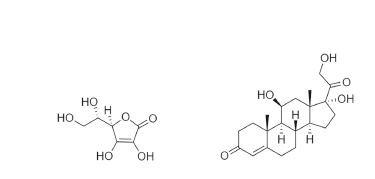 Struktura vitaminu C a kortizolu. Vlevo strukturní chemický vzorec vitaminu C (kyseliny L-askorbové), vpravo kortizolu.