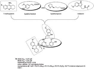 Melatoninový derivát 10 vzniklý Ugiho multikomponentní syntézou