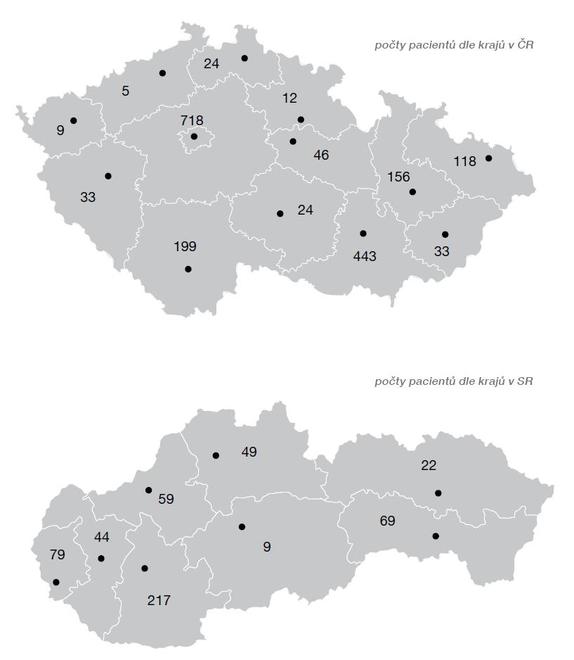 Počty pacientů indikovaných v jednotlivých krajích v ČR a SR