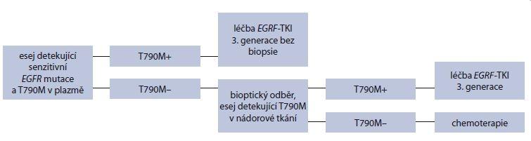 Schéma 1. Algoritmus vyšetřování sekundární rezistentní mutace T790M genu <i>EGFR</i> z plazmy. Genotypizace mutace T790M z plazmy při vzniku rezistence na léčbu <i>EGFR</i>-TKI u <i>EGFR</i> pozitivních pacientů je možná před bioptickým odběrem. K vyšetření T790M z nádorové tkáně získané rebiopsií je možné přistoupit až při negativním molekulárním výsledku z plazmy. Modifi kováno dle Oxnard et al [55].