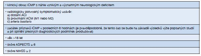 Indikace k mechanické trombektomii (13)