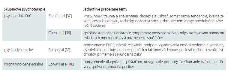Prehľad programov a jednotlivých tém skupinových psychoterapií pre pacientov s PNES.