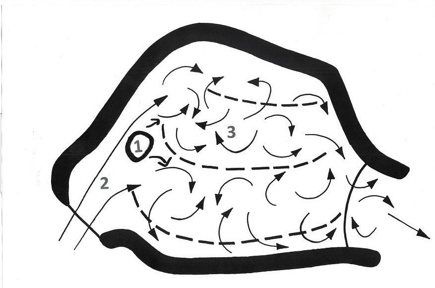 Obr. 4 Mechanický model, simulace perforace nosního septa; 1 - perforace septa, 2 - laminární proud vzduchu, 3 - turbulentní proud vzduchu. Dle Grützenmachera, 2005