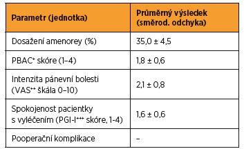 Klinické ukazatele efektivity radiofrekvenční ablace endometria za tři měsíce po výkonu