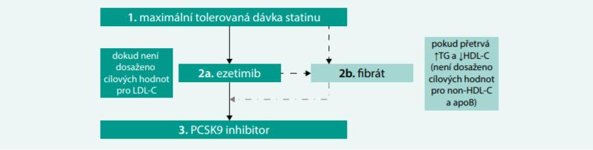 Schéma. Kombinovaná hypolipidemická léčba s ohledem na cílové hodnoty a typ dyslipidemie