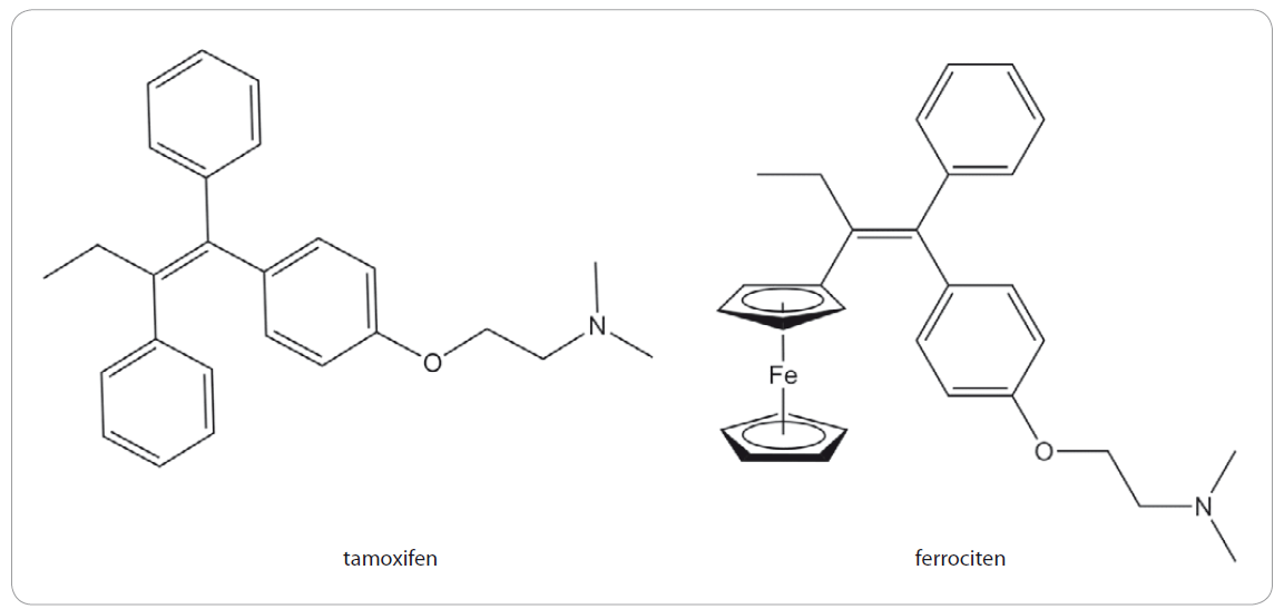 Strukturní vzorce tamoxifenu a ferrocifenu.