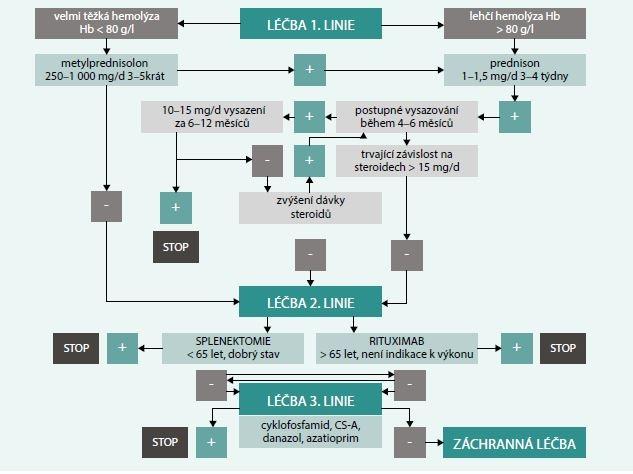 Schéma 2. Léčba hemolýzy zprostředkované protilátkami třídy IgG
