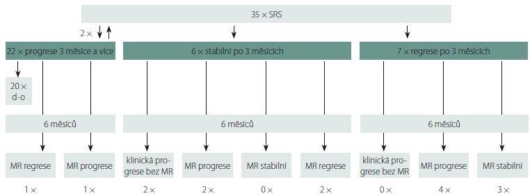 Vývoj ozářených ložisek GBM po 3 a 6 měsících po SRS.<br> d-o – počet pacientů po 3. měsíci graficky nevyšetřovaných; GBM – multiformní glioblastom; SRS – stereotaktická radiochirurgie<br> Fig. 1. Radiologic follow-up of GBM lesions 3 and 6 months after SRS.<br> d-o – number of patients with no radiologic control after 3 months; GBM – glioblastoma multiforme; SRS – stereotactic radiosurgery