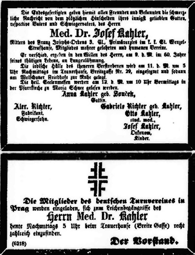 Oznámení úmrtí Josefa Kahlera v deníku Bohemia (1870)