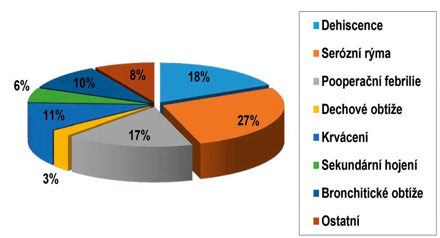 Celkové zastoupení jednotlivých komplikací při rekonstrukcích patra.<br> Legenda: procentuální zastoupení jednotlivých časných komplikací po rekonstrukci patra
