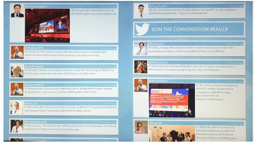 Obr. 2. Příspěvky aktivních účastníků na Twitter byly v průběhu celé konference zobrazovány na digitálních monitorech tzv. twitter wall<br> Fig. 2. Tweets of active participants were posted on common twitter walls during the whole conference