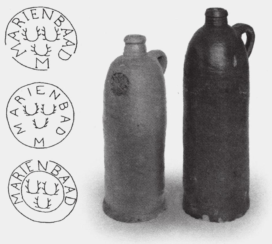 Kameninové nádoby na minerální vodu z Mariánských Lázní (počátek 19. století)