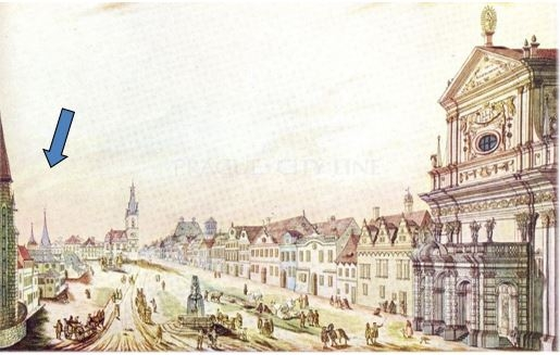 Kresba části Karlova náměstí z 19. století, šipka ukazuje věže špitálu sv. Lazara vlevo od Novoměstské radnice. Na místě špitálu dnes stojí budova soudu.