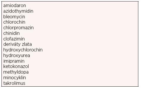 Léky asociované s pigmentovanými změnami (13)