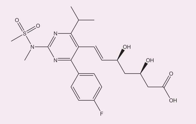 Struktura rosuvastatinu. Upraveno dle [5].