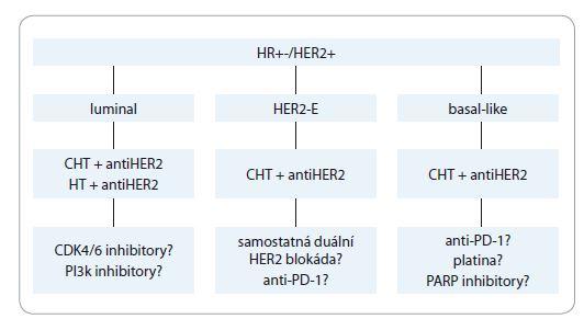 Schéma 1. Současné a perspektivní léčebné strategie u HER2+ karcinomu prsu. HR+ – hormonálně dependentní, HER2+ – receptor 2 pro lidský epidermální růstový faktor s tyrozinkinázovou aktivitou, CHT – chemoterapie, HT – hormonální terapie, CDK4/6 – cyklindependentní kináza 4,6; PI3k – fosfatidylinositol-3-kináza, PD-1 – membránový protein programované buněčné smrti, PARP – poly-ADP-ribóza polymeráza