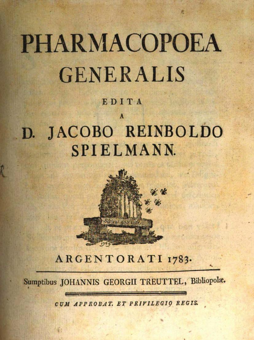Titulní list Spielmannovy Pharmacopoea generalis z roku 1783